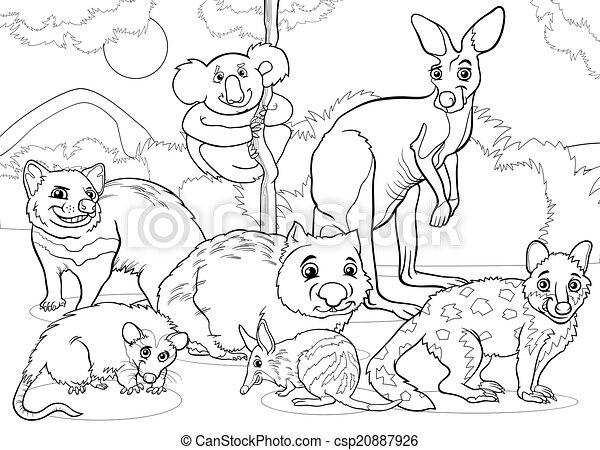 Färbung, tiere, karikatur, seite, beuteltiere. Lustiges,... Vektor ...