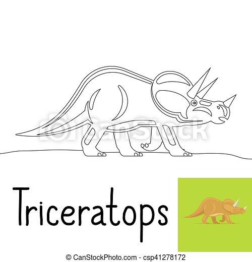 Färbung, triceratops, seite, kinder. Färbung, gefärbt,... Vektoren ...