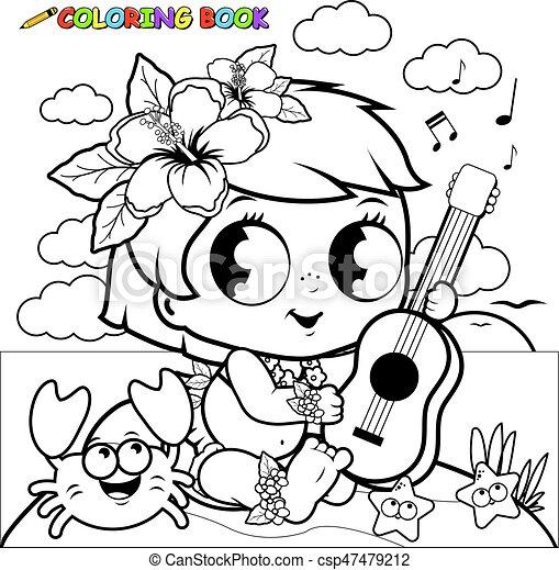 Färbung, ukulele., hawaiische insel, seite, buch, töchterchen ...