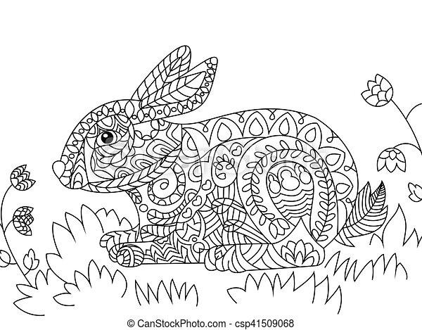 Färbung, vektor, erwachsene, kanninchen. Hare., seite, spitze ...