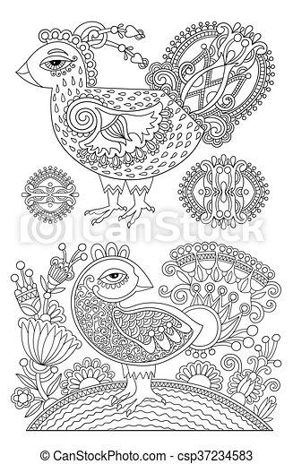 Färbung, weißer vogel, buch, schwarz, zeichnung, original,... Vektor ...