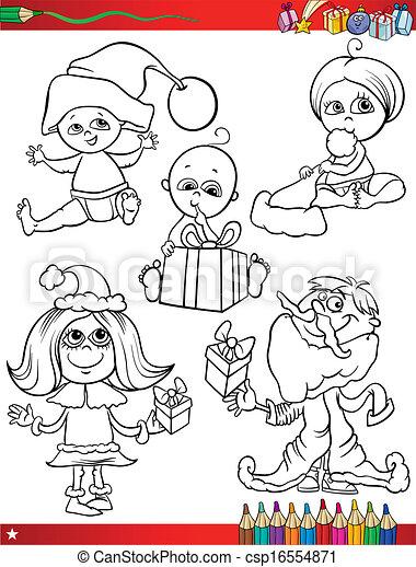 Färbung, weihnachten, seite, kinder. Reizend, färbung,... Vektoren ...