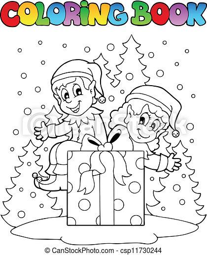 Färbung, weihnachtshelfer, buch, thema, 2, weihnachten.... EPS ...