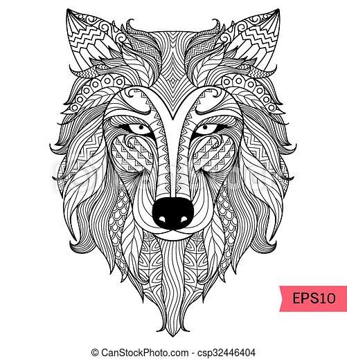 Färbung, wolf, seite. Design, färbung, kunst, mã¤nnerhemd,... Vektor ...