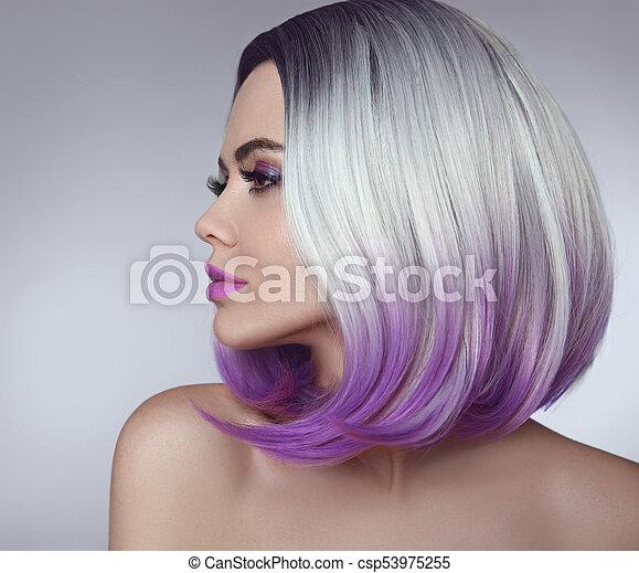 Färbung Woman Schoenheit Ombre Kurzes Haar Begriff Blond