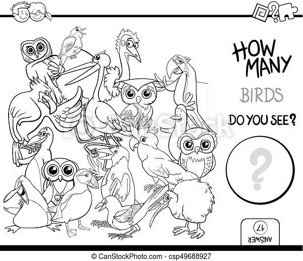 Färbung, zählen, vögel, seite, aktivität. Erzieherisch,... Vektor ...