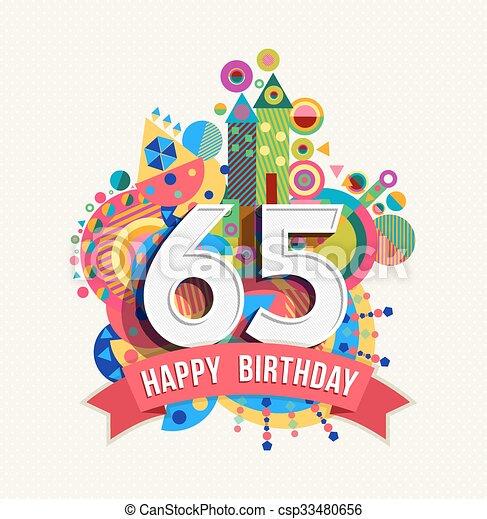 grattis på 65 årsdagen kort Färg, affisch, hälsning, födelsedag, 65, år, kort, lycklig  grattis på 65 årsdagen kort