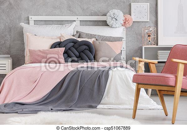 färg, bedsheets, mjuk, säng - csp51067889