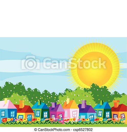 färg, hus, vektor, illustration - csp6527802