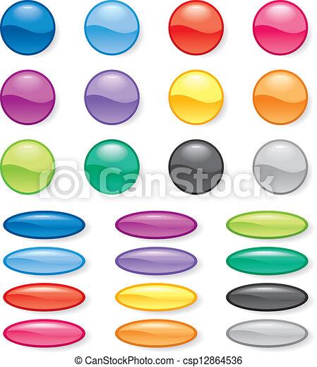 färg, knapp, sätta - csp12864536
