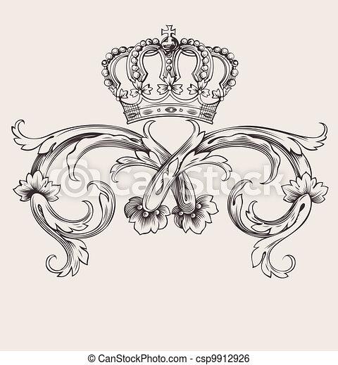 färg, kunglig krona, buktar, en, årgång, baner - csp9912926