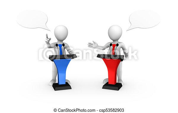 färgad, folk, tribune, liten, talande, 3 - csp53582903