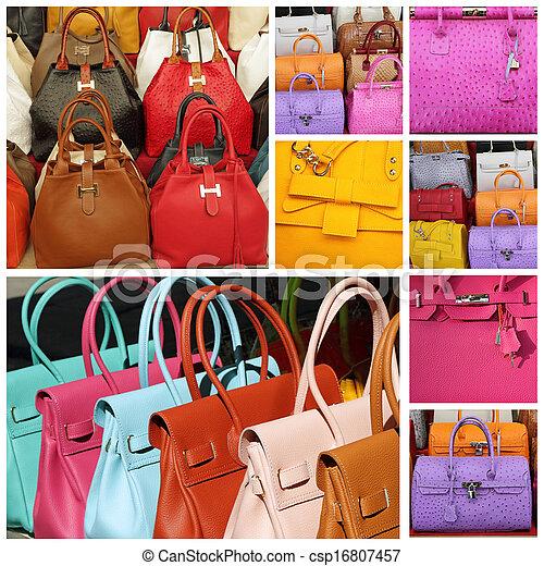 färgrik, handväskor, kollektion, läder - csp16807457