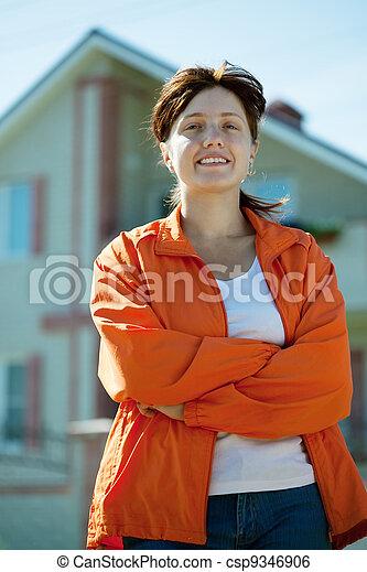 färsk, främre del, kvinna, hem, lycklig - csp9346906
