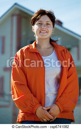 färsk, främre del, kvinna, hem, lycklig - csp6741082