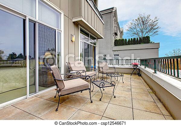 färsk, möblemang, lägenhet, balkong, anläggning. - csp12546671