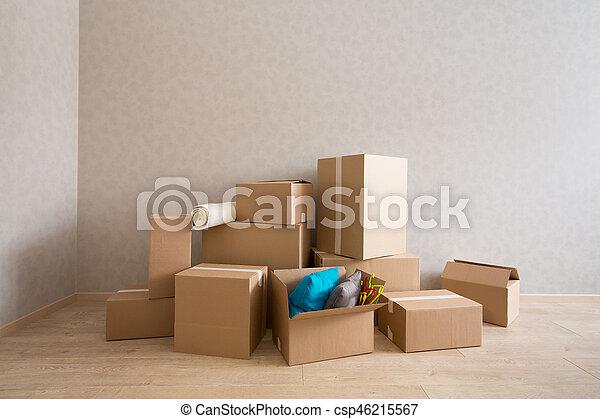 färsk, rutor, papp, rum, tom - csp46215567