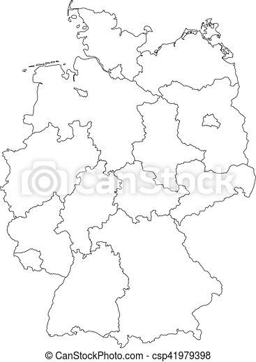 Carte Allemagne Noir Et Blanc.Federal Carte Divise Allemagne Etats