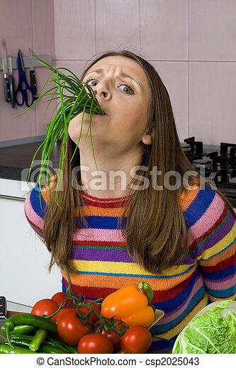 fédéral, femme, haut, légumes - csp2025043