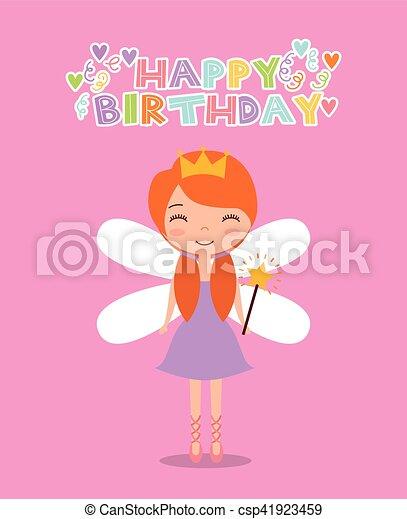 Fee Carte Anniversaire Rose Mignon Colore Joyeux Anniversaire Sur Illustration Arriere Plan Vecteur Fee Icone Canstock