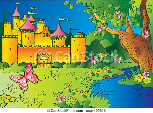 fée-conte, castle. - csp4402518