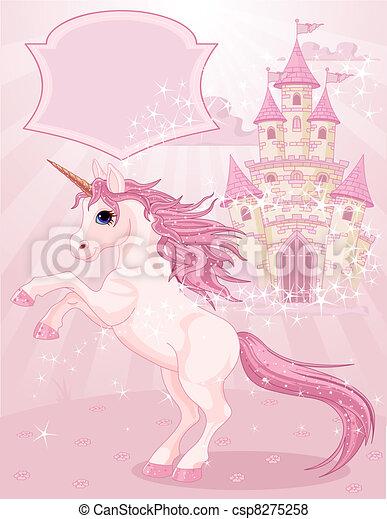 fée, licorne, château, conte - csp8275258