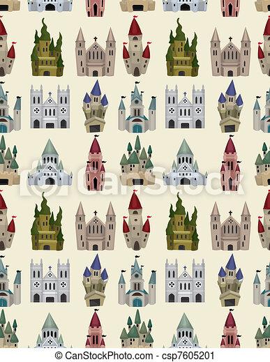 fée, modèle, conte, seamless, dessin animé, château - csp7605201