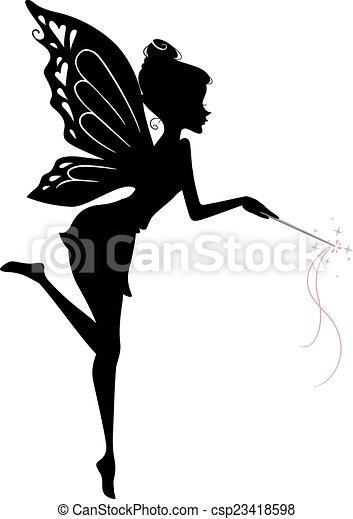 fée, silhouette - csp23418598