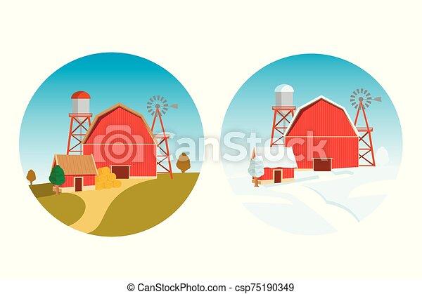 fée, tale., eve., noël, nouveau, ferme, gabarit, automne, vecteur, année, hiver - csp75190349