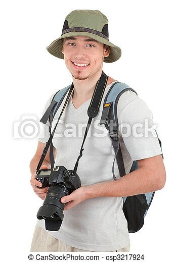 fényképezőgép, fiatal, természetjáró - csp3217924