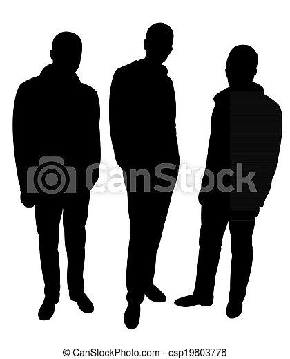 férfiak, árnykép, három - csp19803778