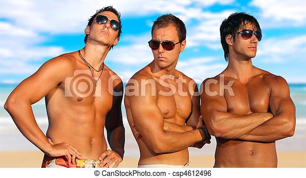 férfiak, tengerpart, bágyasztó - csp4612496