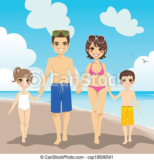 férias praia, família - csp19506541