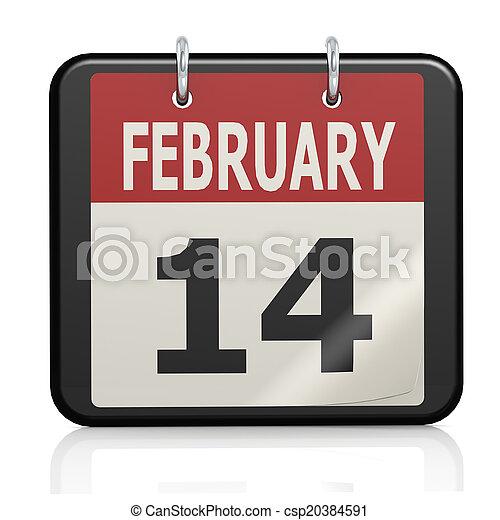 février, valentin, s, calendrier, 14, jour - csp20384591