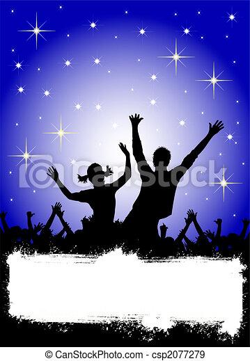 fête, affiche, étoiles, disco - csp2077279