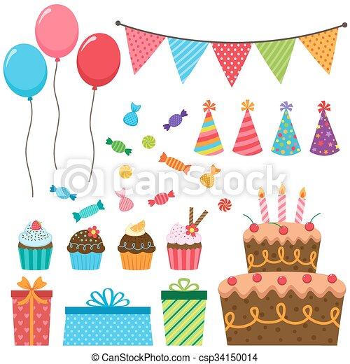 fête, anniversaire, éléments - csp34150014