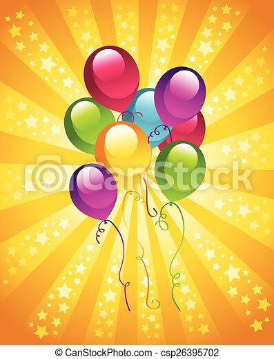 fête, anniversaire, ballons - csp26395702