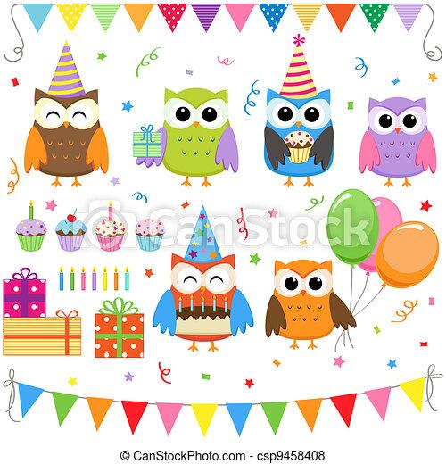 fête, anniversaire, ensemble, hiboux - csp9458408