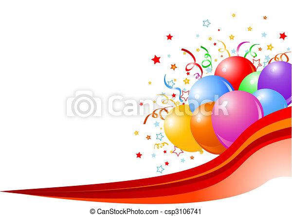 fête, ballons, fond - csp3106741