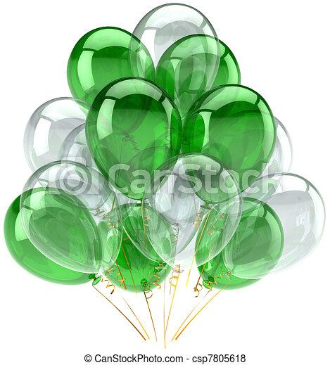fête, blanc, ballons, vert, classique - csp7805618