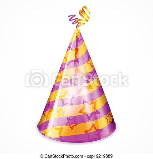 fête, chapeau blanc - csp19219889