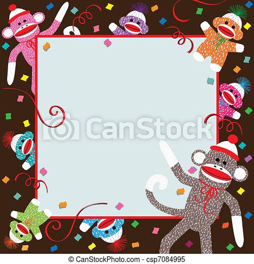 fête, chaussette, singe, invitation - csp7084995