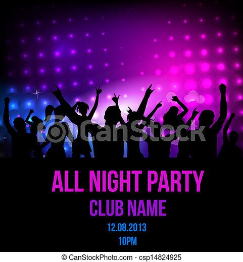 fête, disco, fond, affiche - csp14824925