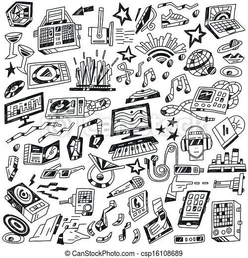 fête, -, doodles, musique - csp16108689