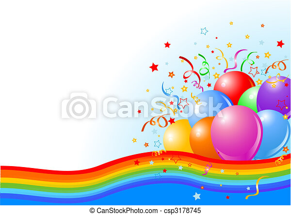 fête, fond, ballons - csp3178745