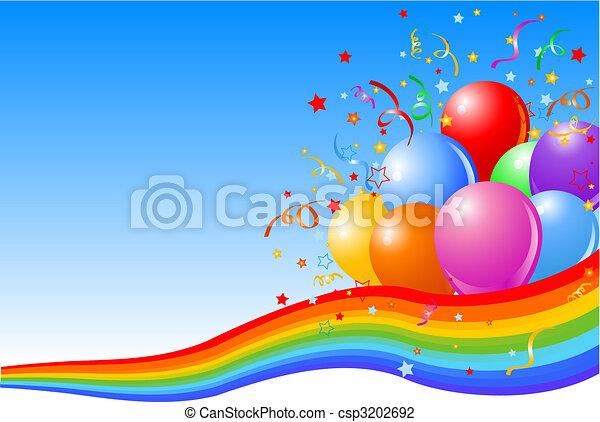fête, fond, ballons - csp3202692
