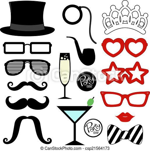 fête, moustache, appui verticaux - csp21564173