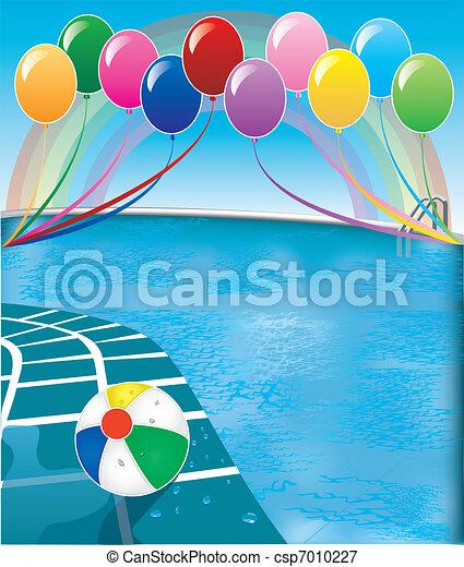 fête, piscine - csp7010227
