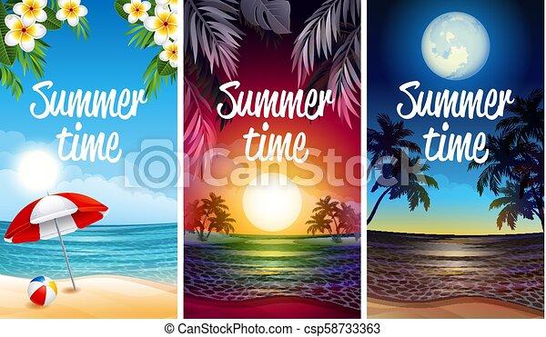 fête, plage, bannière - csp58733363