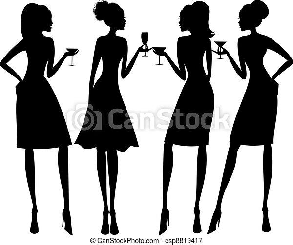 fête, silhouettes, cocktail - csp8819417